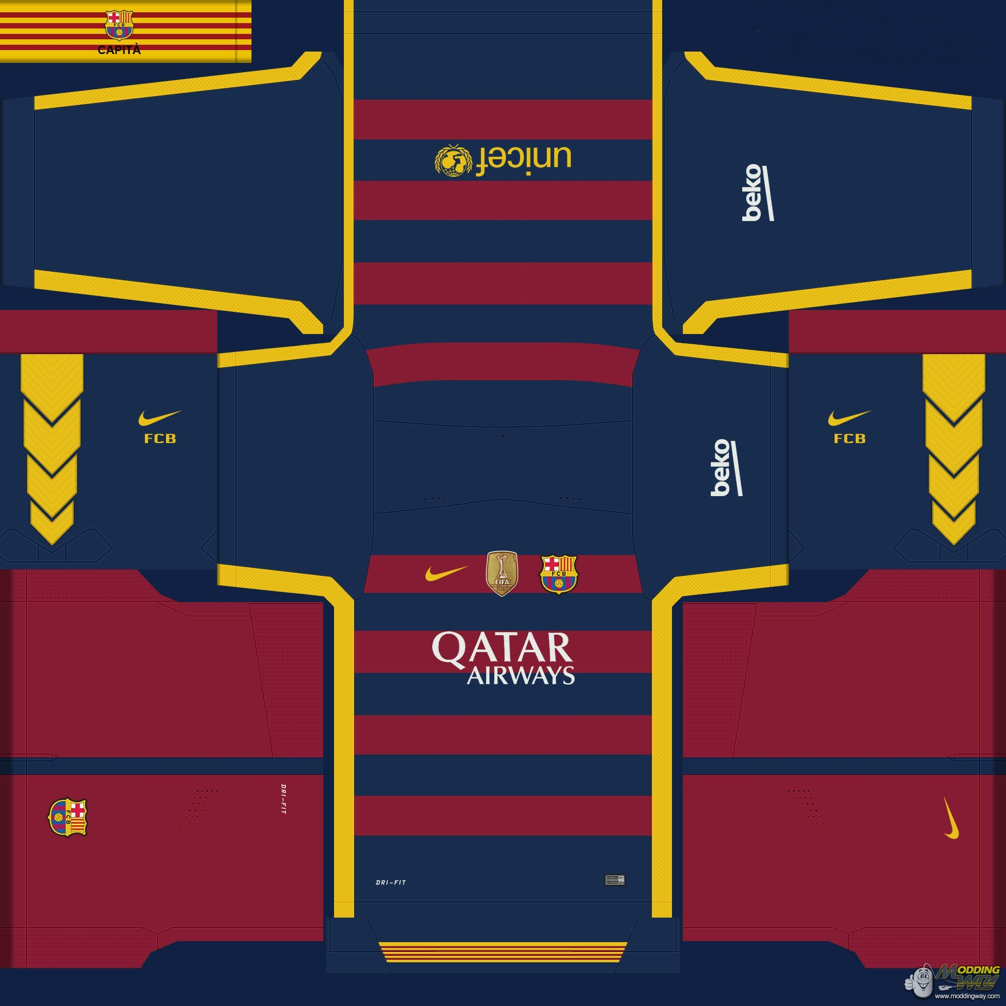 FC Barcelona kits with world cup badge - Pro Evolution Soccer 2016 at  ModdingWay 3a5180cf3
