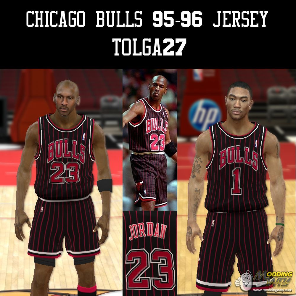 5a141f354 Chicago Bulls 95-96 Black Jersey - NBA 2K12 at ModdingWay