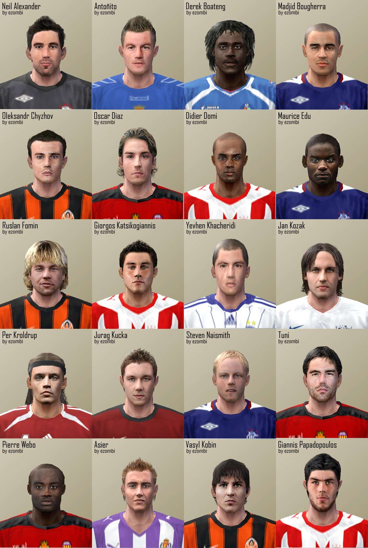 PES 6 January Faces Pack by ezombi - Pro Evolution Soccer 6
