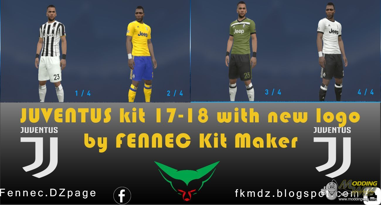 6823a262a PES 2017 Juventus Kit 2017-18 With New Logo by FENNEC kit maker - Pro  Evolution Soccer 2017 at ModdingWay