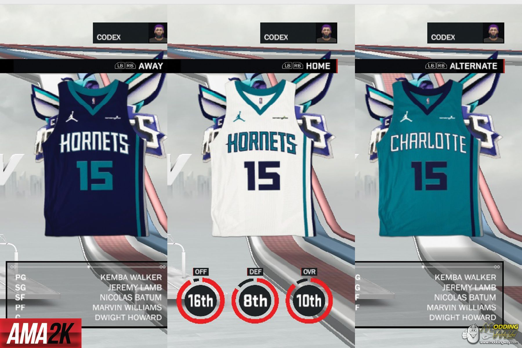 12c69120583 Charlotte Hornets Realistic Jersey Icons (Home, Away, Statement) 2018 - NBA  2K17 at ModdingWay