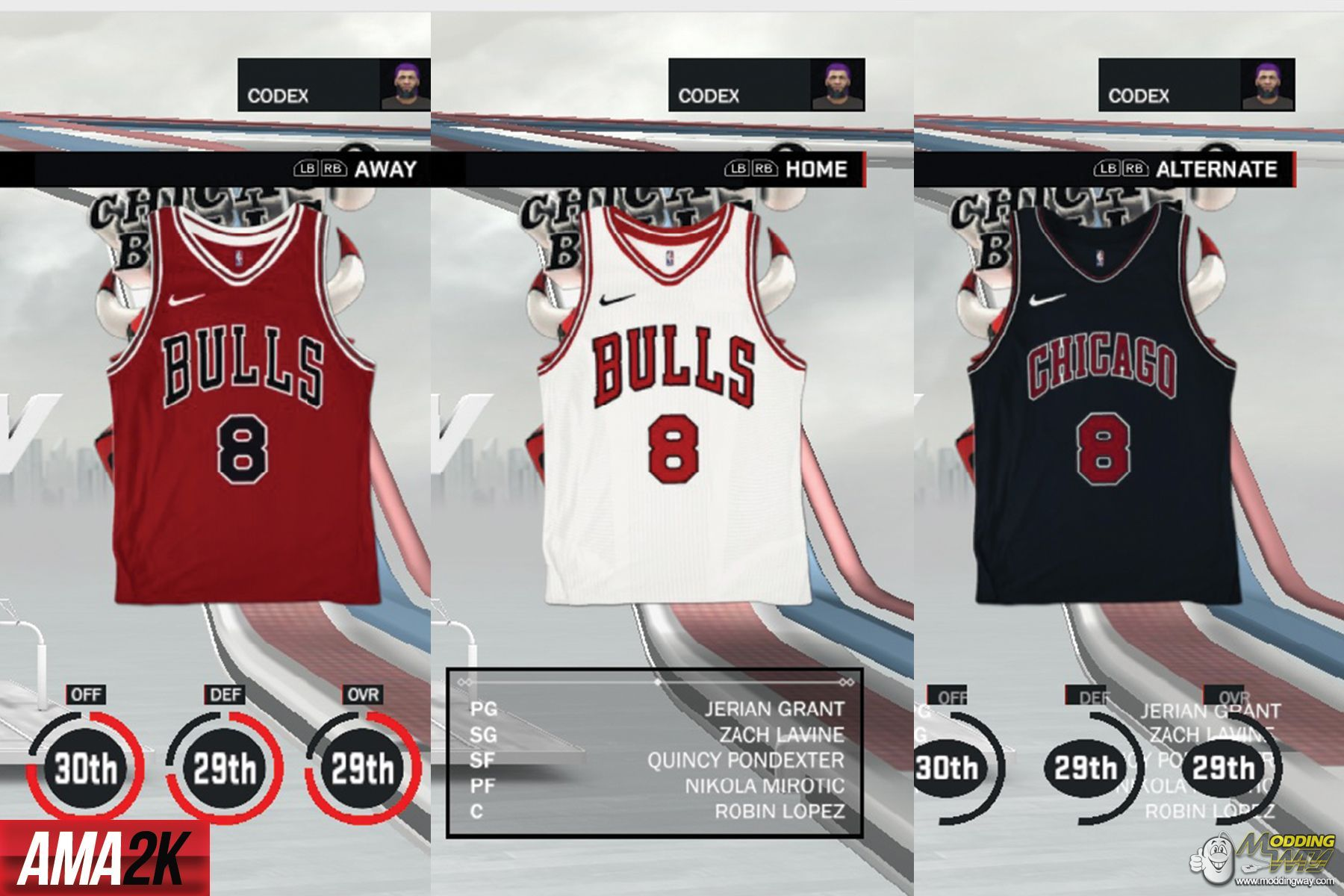 wholesale dealer 100ff 10c1b Chicago Bulls Realistic Jersey Icons (Home, Away, Statement ...