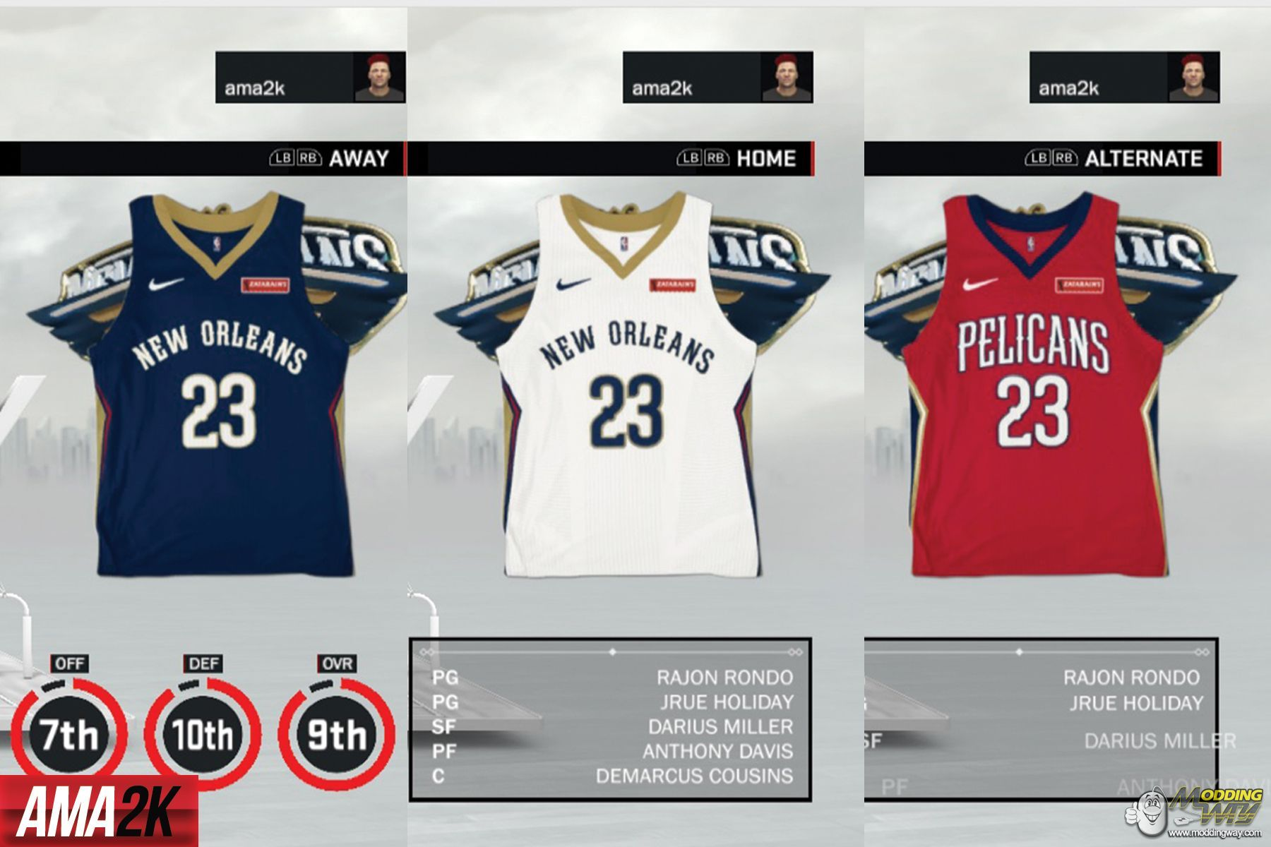 New Orleans Pelicans Realistic Jersey Icons Home Away