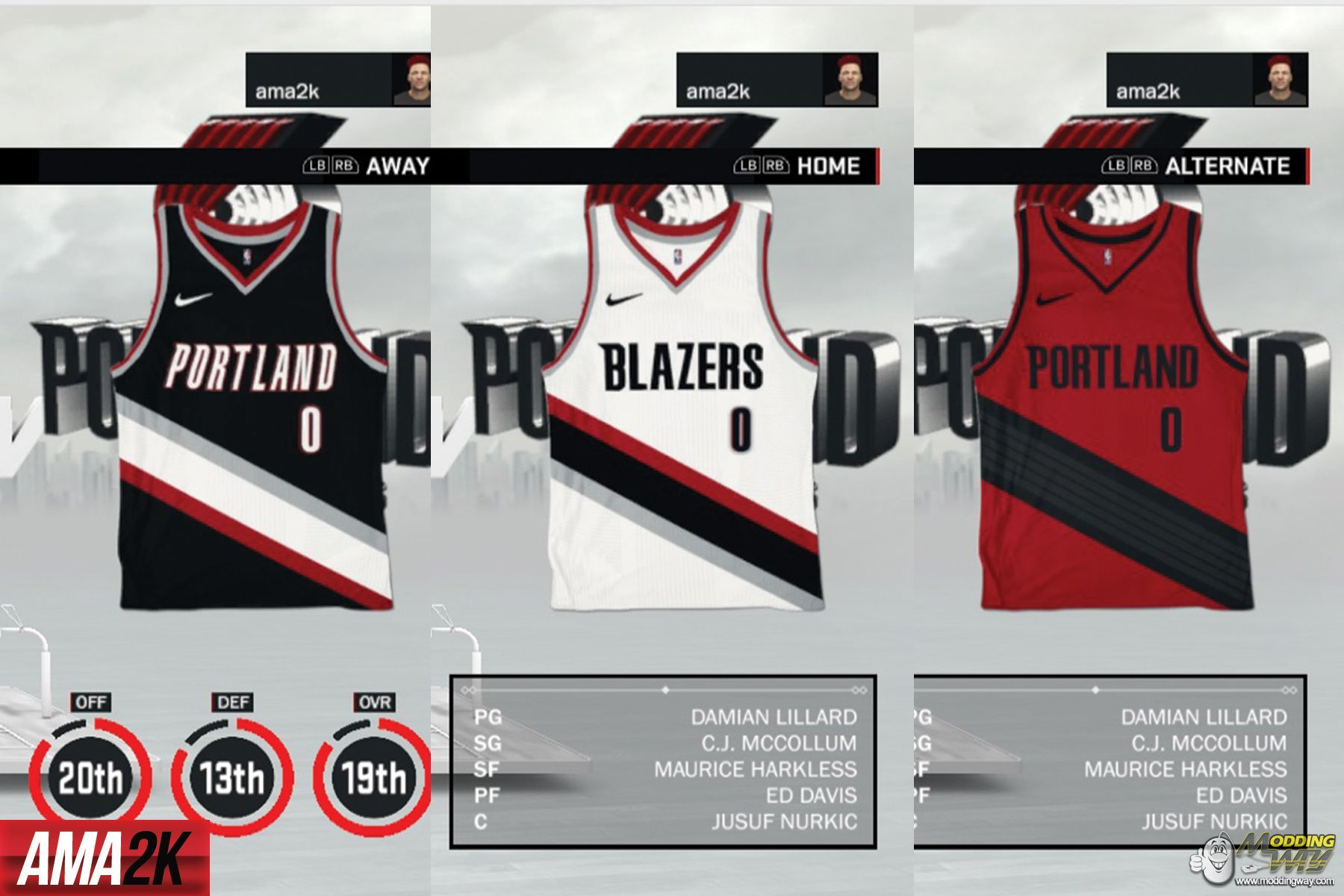finest selection 32039 a14f7 Portland Trailblazers Realistic Jersey Icons (Home, Away ...