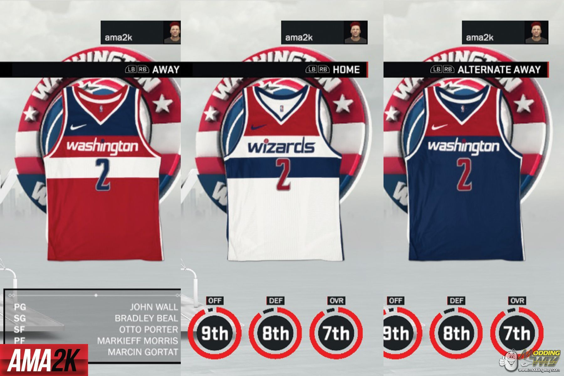 best website a87d6 d0fa7 Washington Wizards Realistic Jersey Icons (Home, Away ...