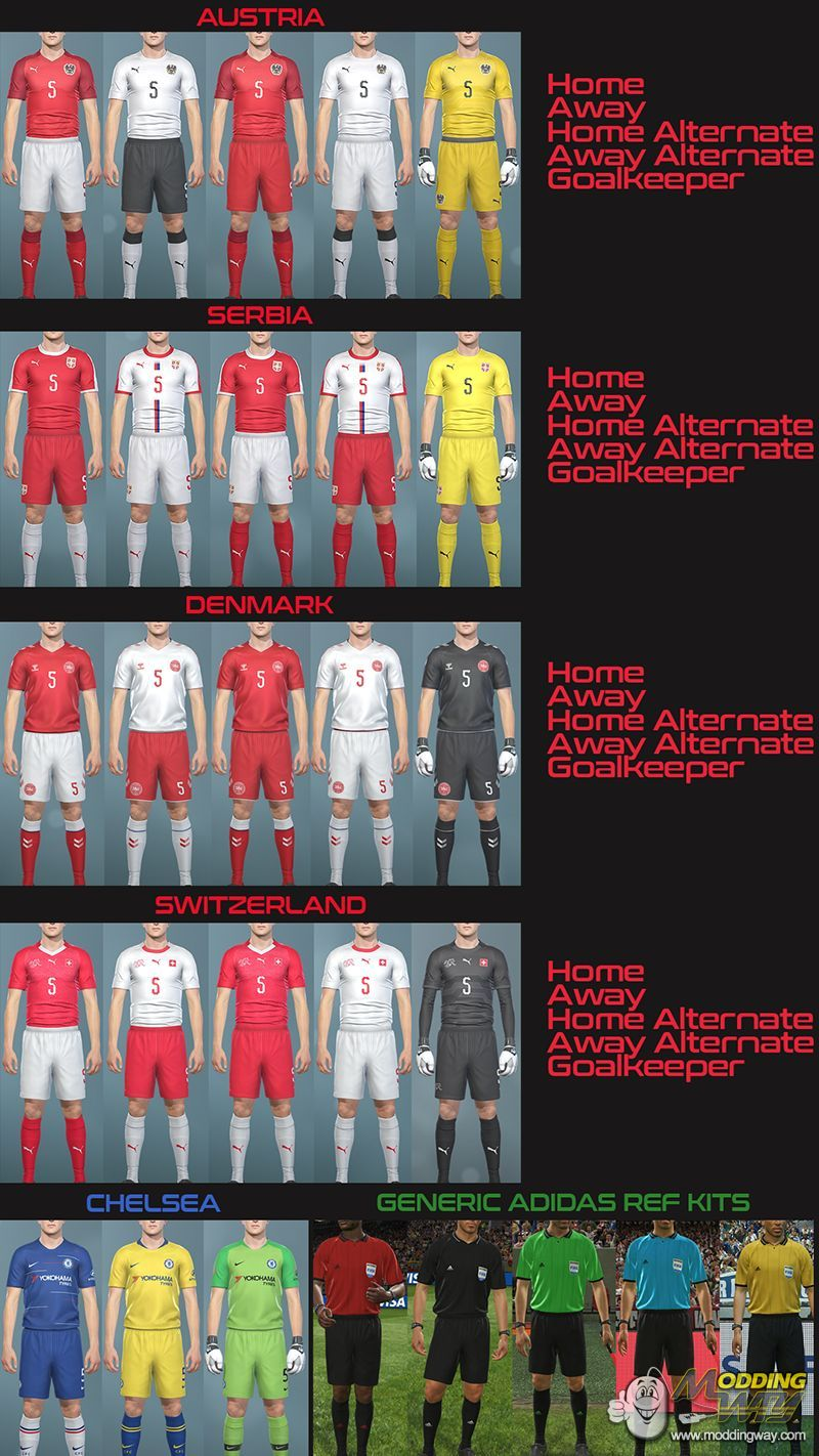 2cf48e10231 Kits Pack Vol 1 by Hawke - Pro Evolution Soccer 2019 at ModdingWay