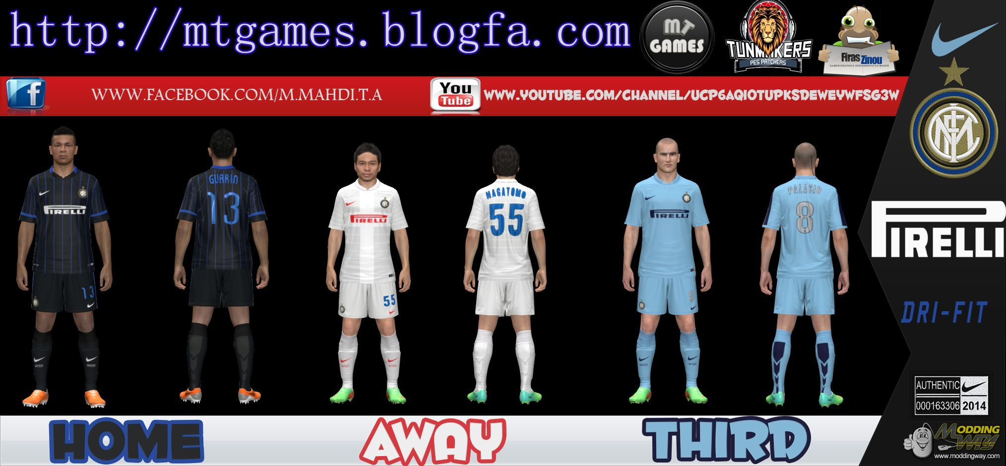 sports shoes 10cea 2791b Inter Milan 2014-15 Kit Pes 14 by MT GAMES - Pro Evolution ...