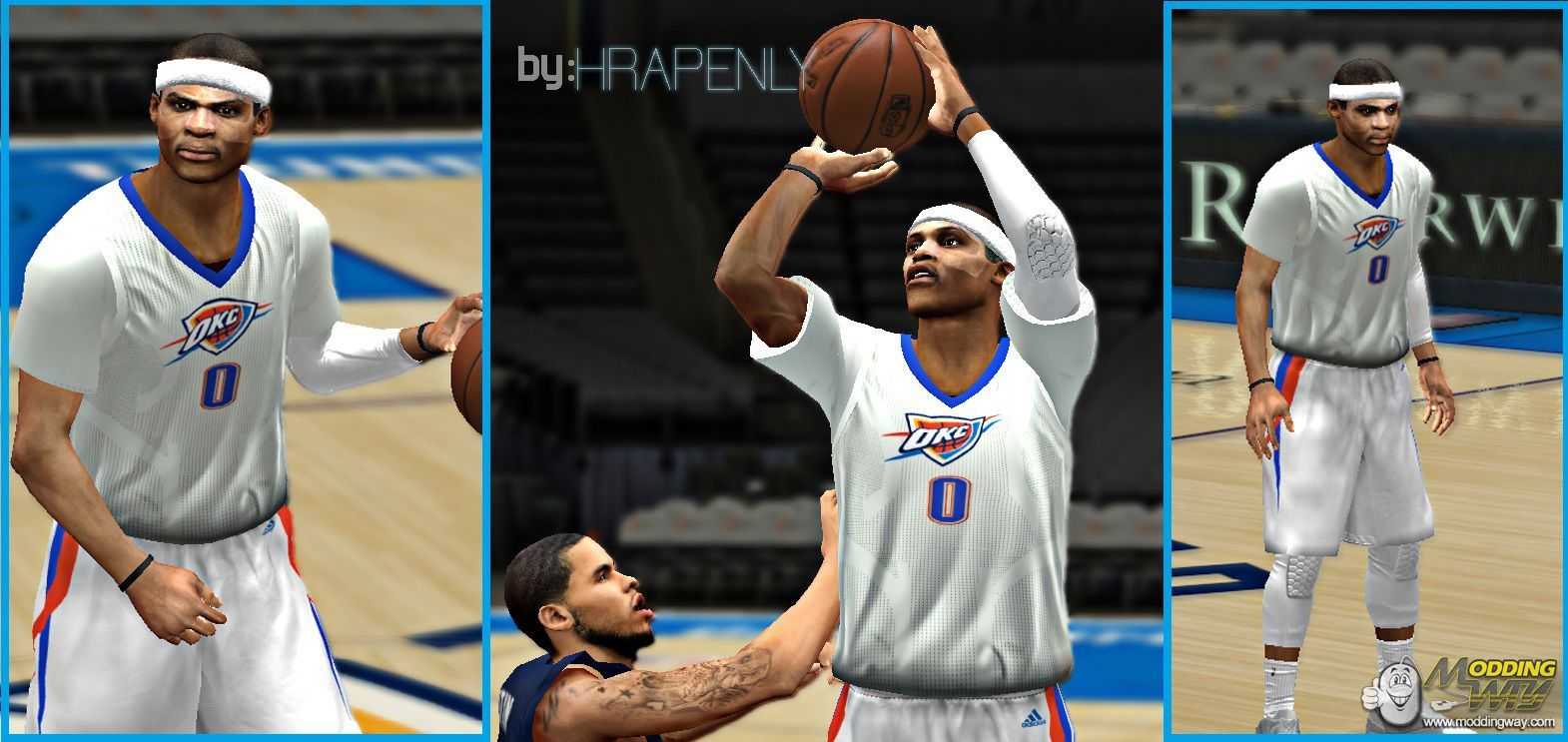 buy online 92a73 d2a89 New Okc white sleeve jersey (RELEASED) - NBA 2K14 at ModdingWay